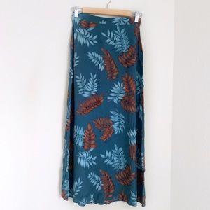 Blue floral leaf tropical maxi skirt
